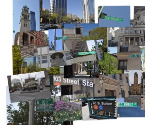 Photo collage of Bloomingdale buildings, streets, features