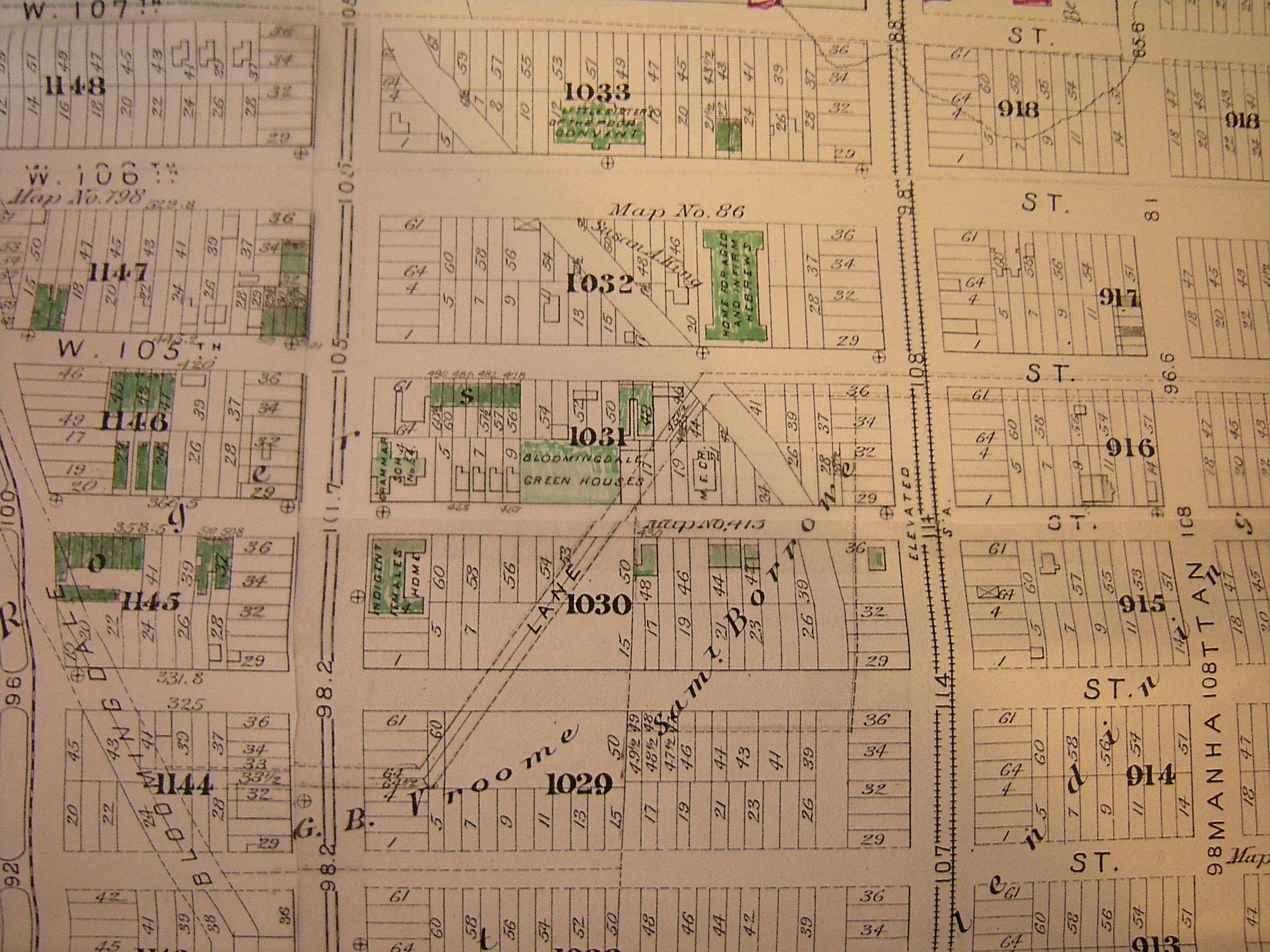 1885 Map Showing Neighborhood Around 891 Amsterdam Avenue