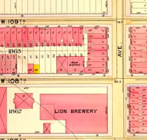 1898 Map showing tenements on the east side of Columbus Avenue across from the Brewery