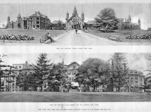 Bloomingdale Insane Asylum in White Plains (top) and in Morningside Heights (bottom)
