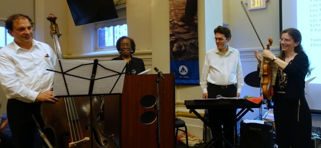 Laurence Goldman, Lois Bellamy, and the Orfeo Duo. Photo by Judy Langer