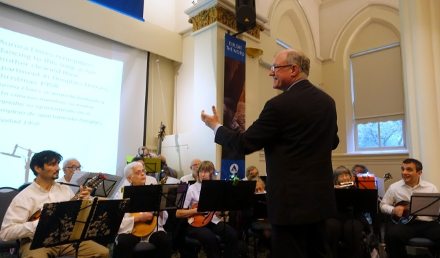 The New York Mandolin Orchestra with conductor Jeffrey Ellenberger. Photo by Judy Langer