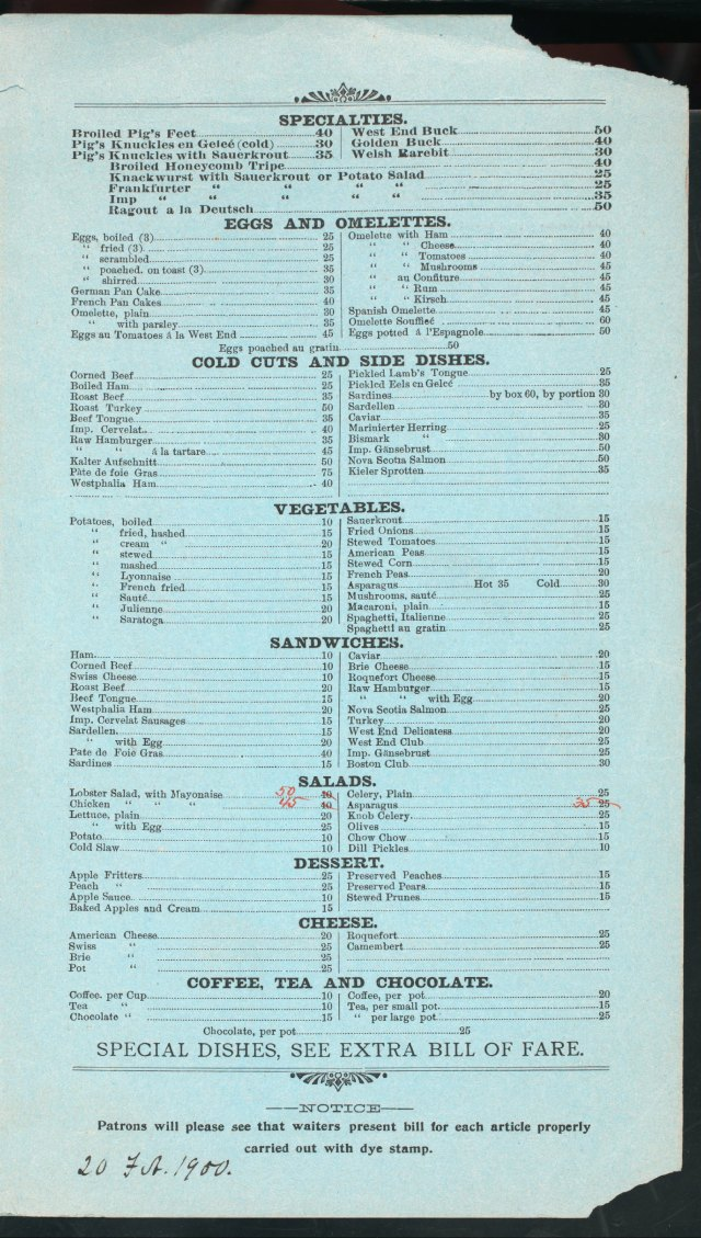 West End Hotel Menu 2