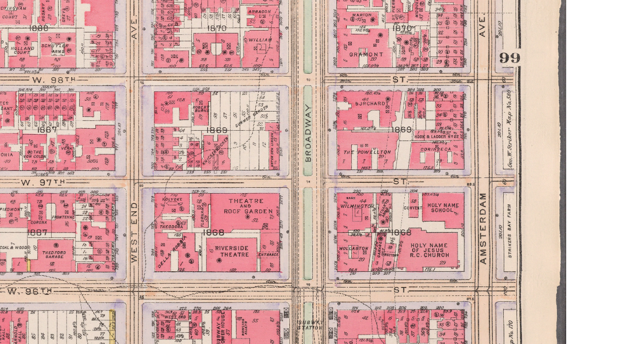 bloomingdale history history of the bloomingdale area on 1916 bromley map showing unter den linden s location at broadway and 97 98th street
