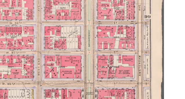 1916 Bromley Map showing Unter den linden's location at Broadway and 97 - 98th Street