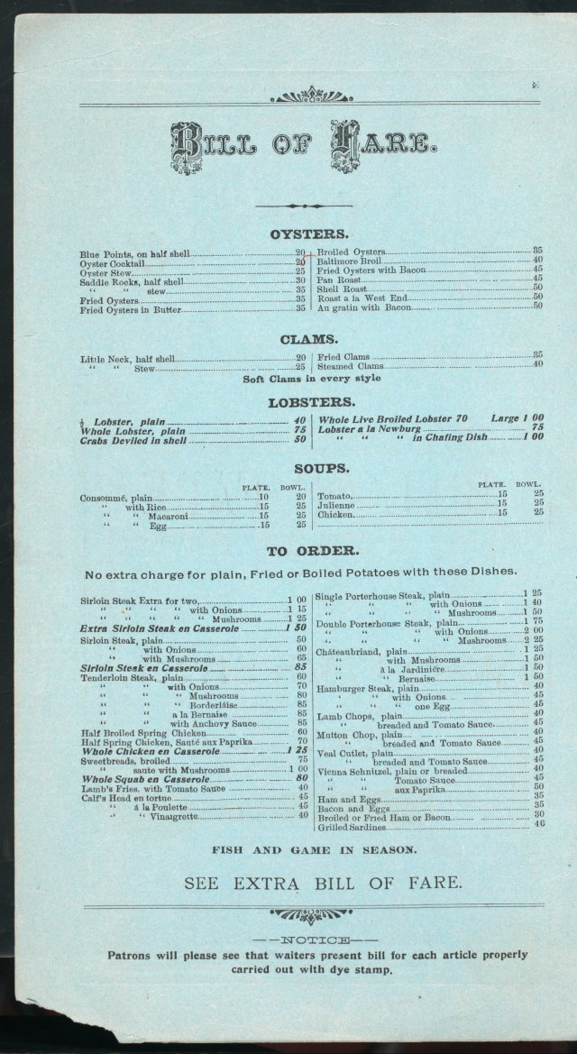 West End Hotel Menu 1